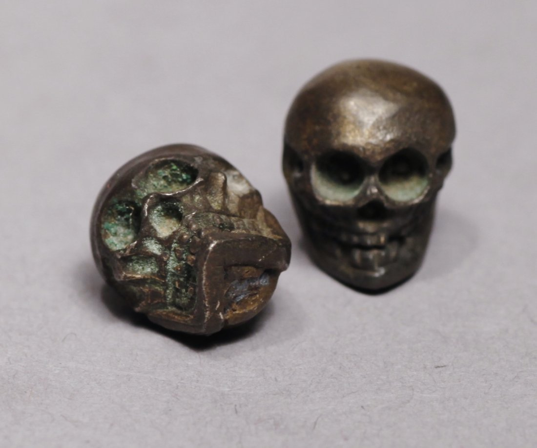 Victorian Metal Miniature Skulls Memento Mori Skulls - 2