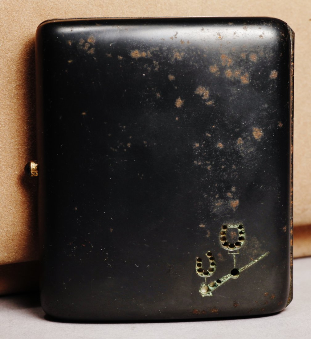 Antique Gun Metal Cigarette Case/Sapphires
