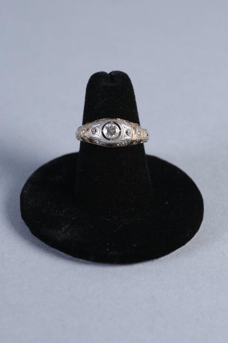 Art Deco 14K Yellow & White Gold, Diamond Ring