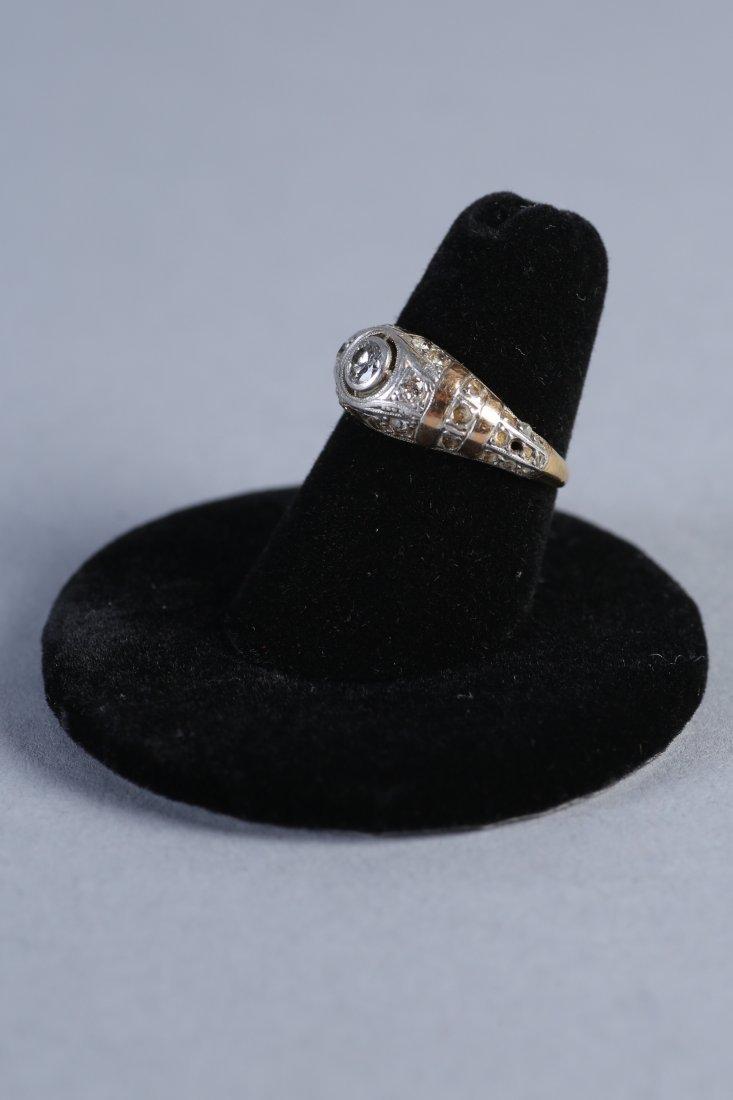 Art Deco 14K Yellow & White Gold, Diamond Ring - 2