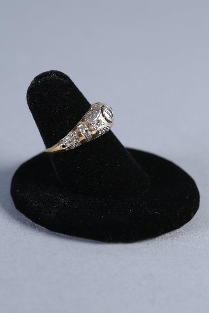 Art Deco 14K Yellow & White Gold, Diamond Ring - 3