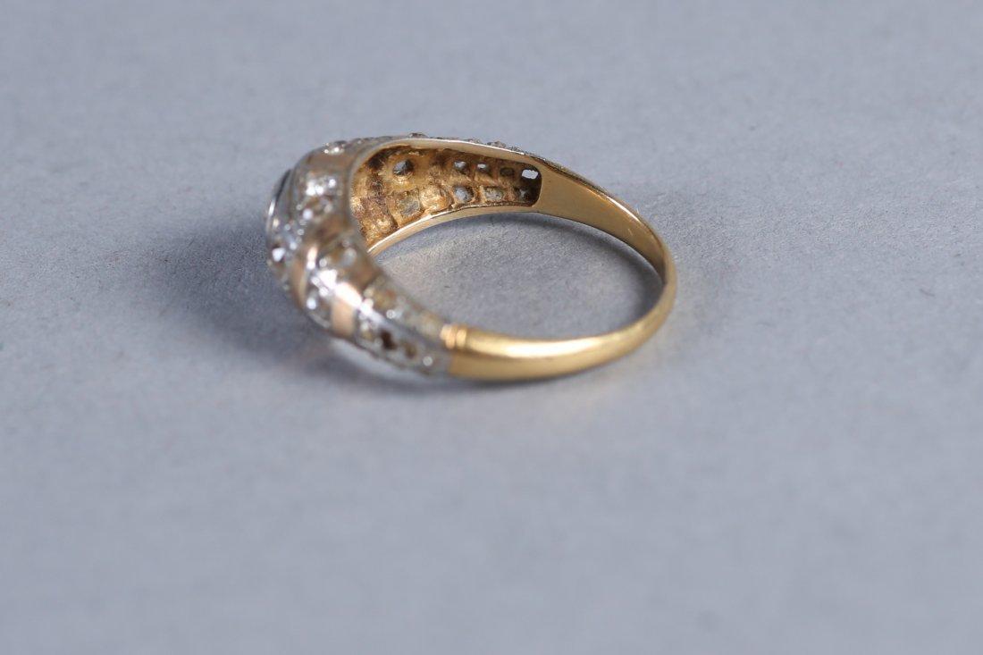 Art Deco 14K Yellow & White Gold, Diamond Ring - 4