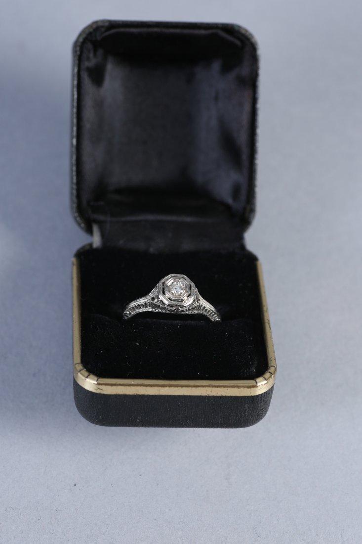 Art Deco 18K White Gold & Diamond Ring