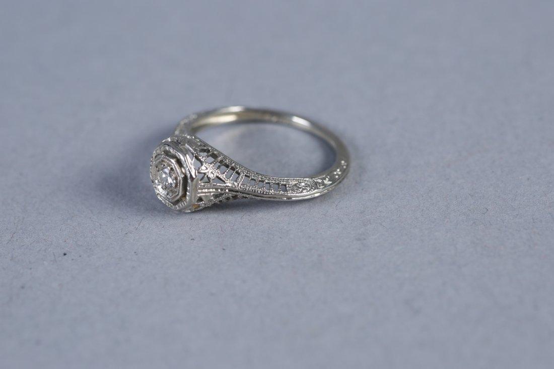 Art Deco 18K White Gold & Diamond Ring - 2