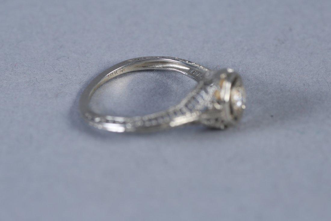 Art Deco 18K White Gold & Diamond Ring - 3