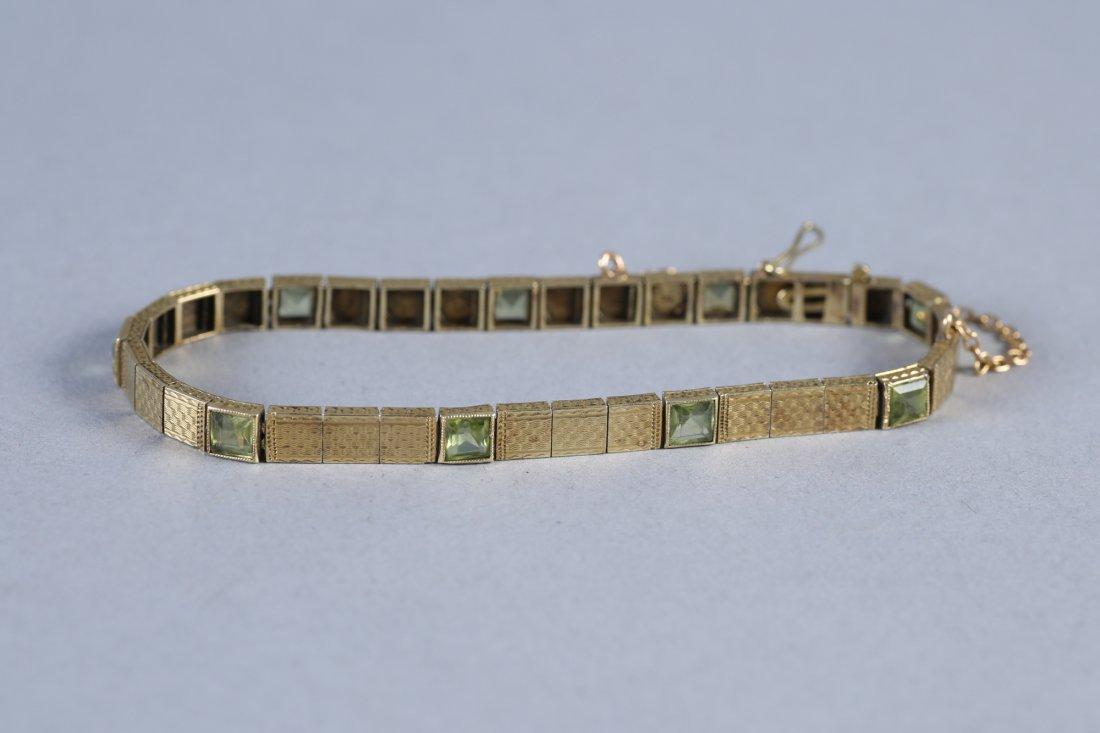 Vintage 14K Gold & Peridot Bracelet - 2