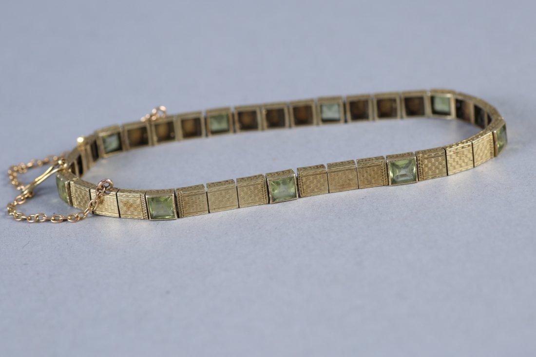 Vintage 14K Gold & Peridot Bracelet - 3