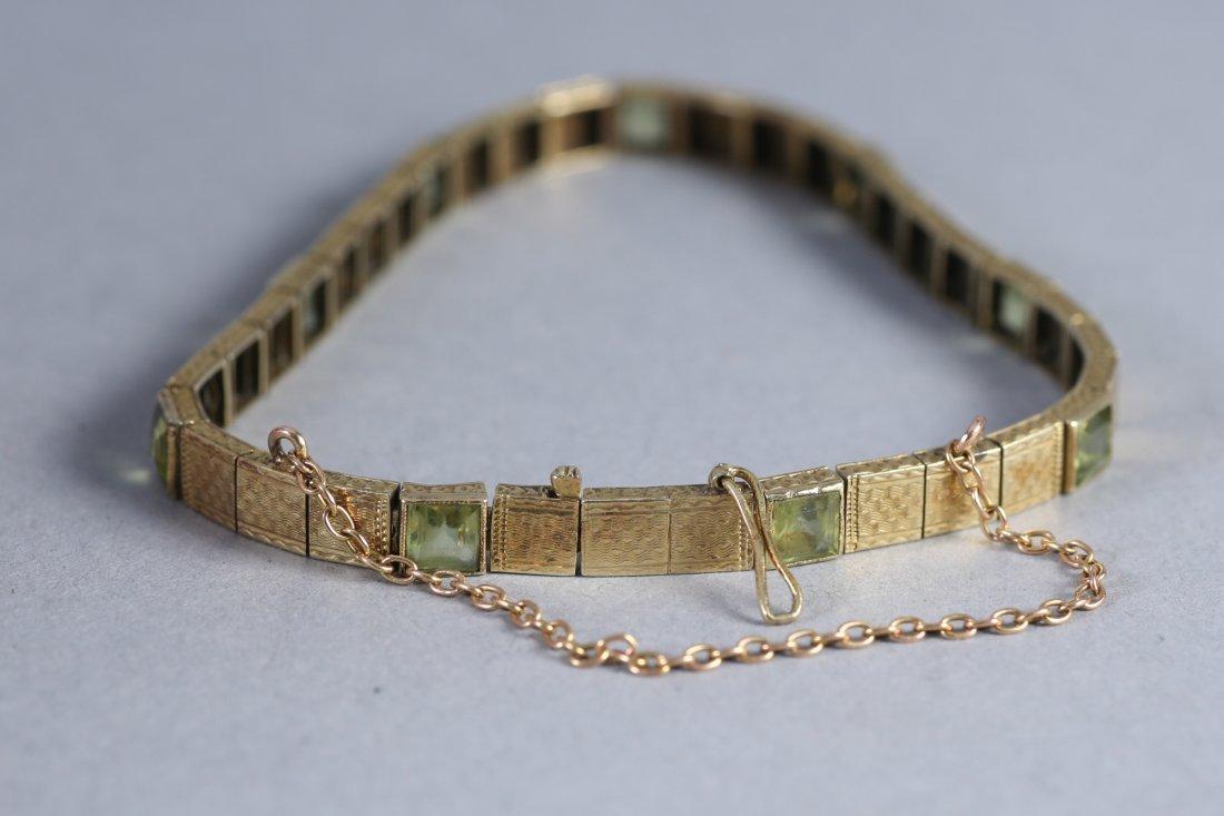 Vintage 14K Gold & Peridot Bracelet - 4
