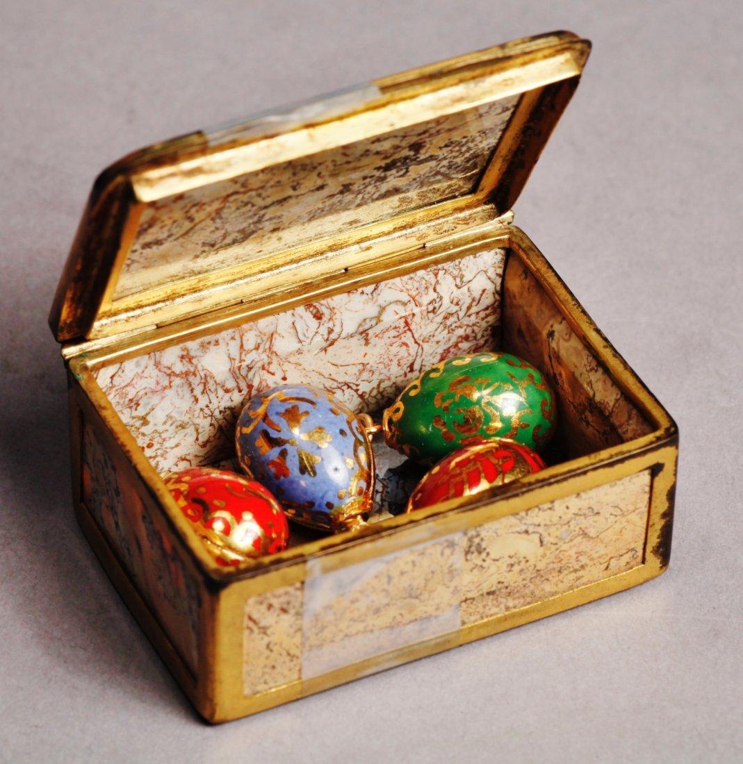 Antique Lot Faberge Style, Painted Porcelain Egg - 2