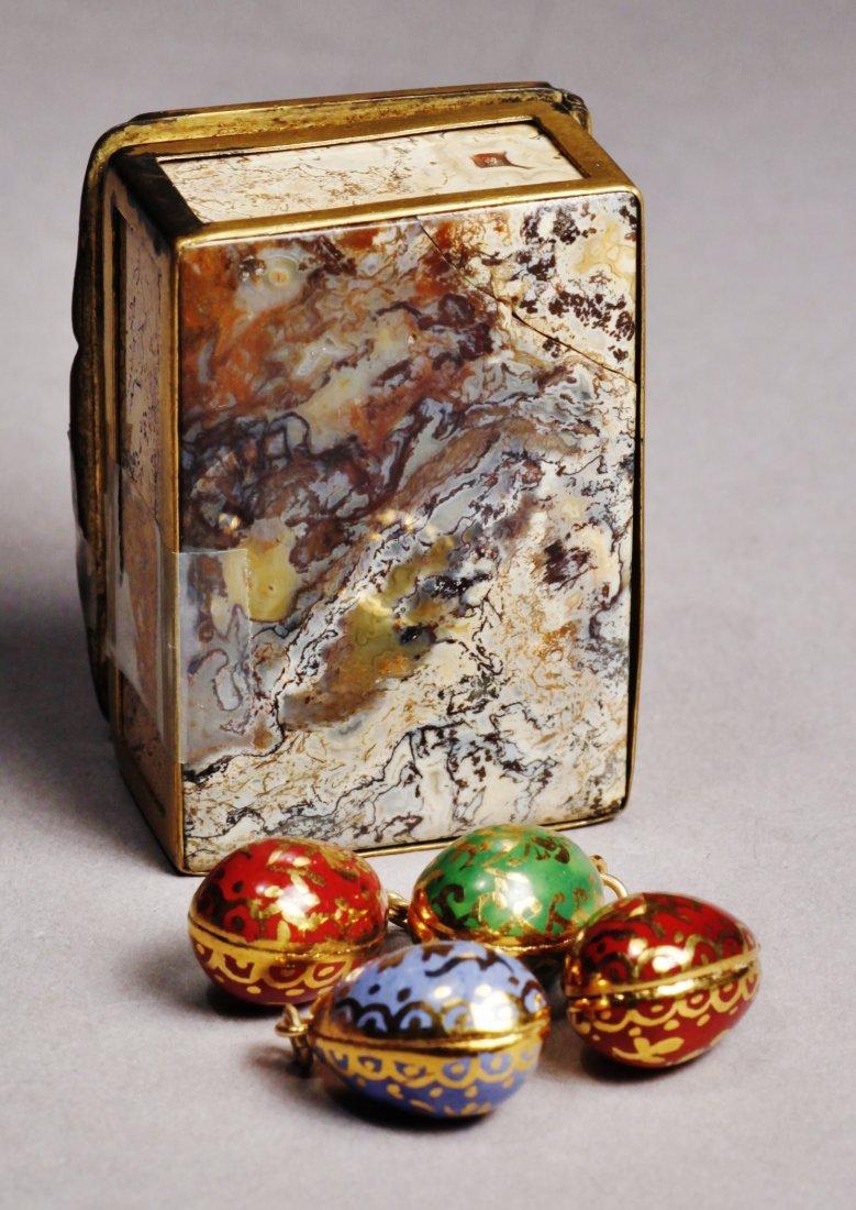 Antique Lot Faberge Style, Painted Porcelain Egg - 3