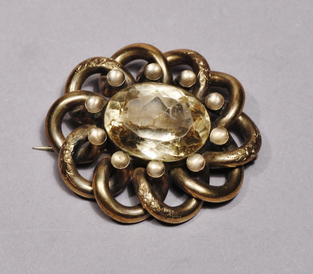 Antique Gold Tone Brooch Victorian