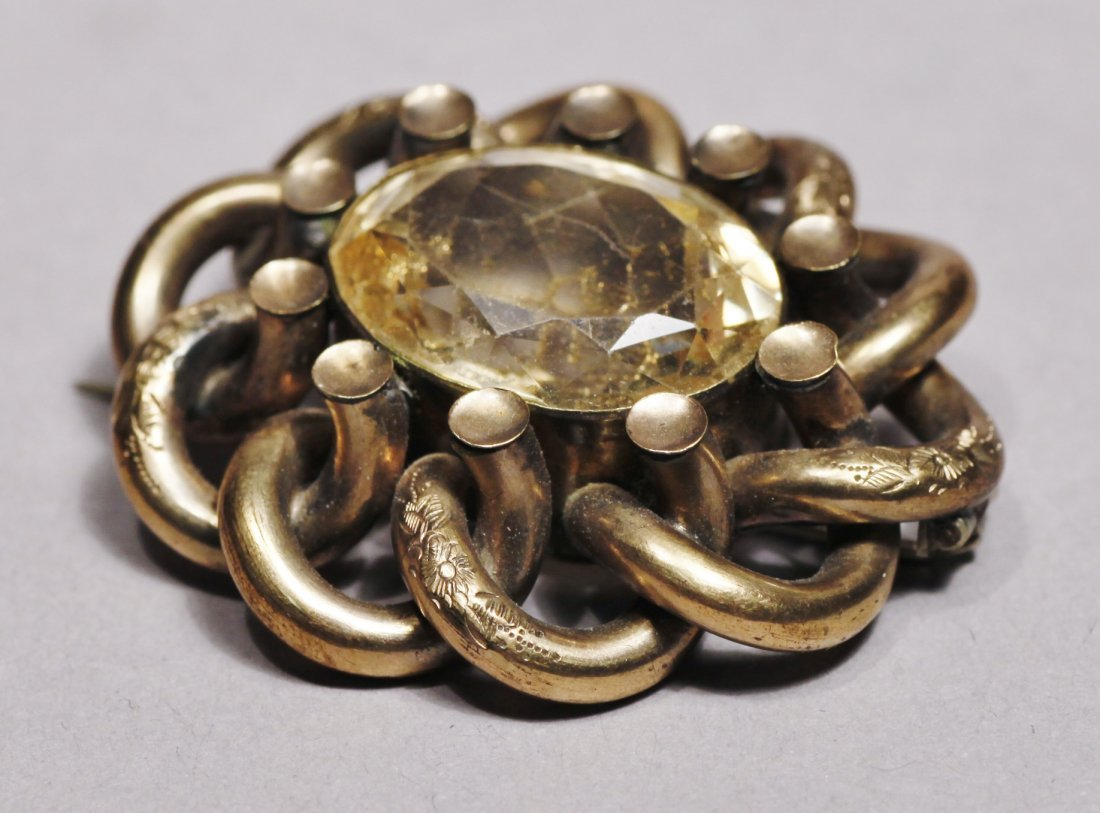 Antique Gold Tone Brooch Victorian - 5