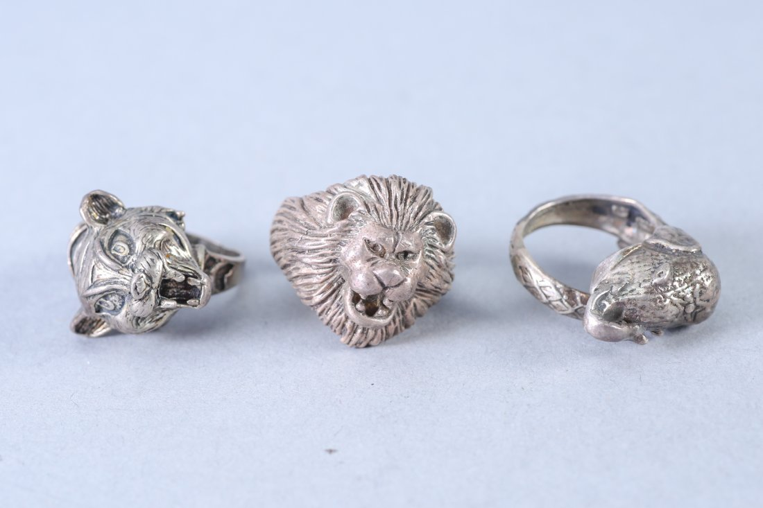 3 Vintage  Heavy Designer Sterling Rings