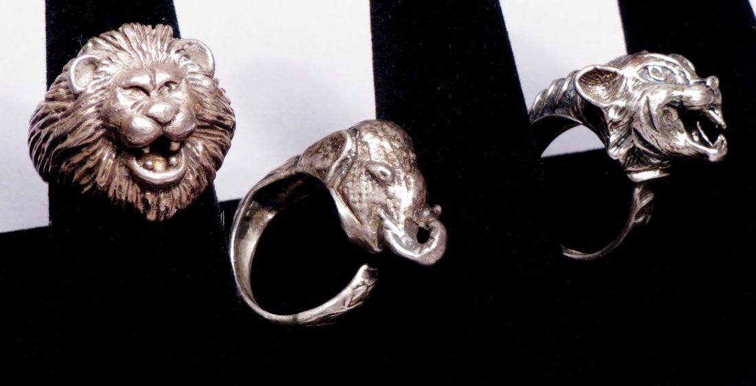 3 Vintage  Heavy Designer Sterling Rings - 3