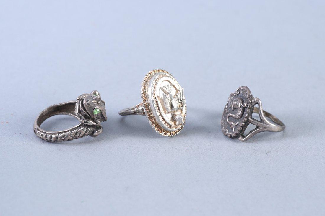 3 Vintage Designer Sterling Rings - 2