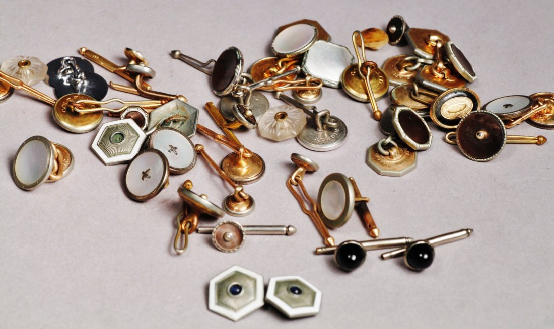 Huge Lot of Antique and Vintage Cufflinks RG Tie Button - 3