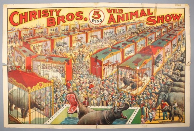 Vintage Christy Bros 5 Ring Wild Animal Show Poster