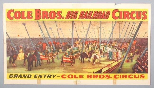 Vintage Cole Bros Railroad Circus Poster