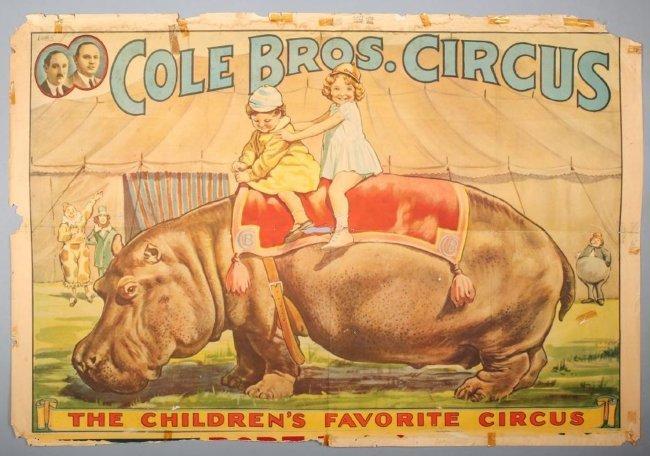 c1935 Cole Bros Circus w/ Hippo Poster