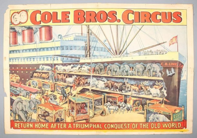 Vintage Cole Bros Circus Poster