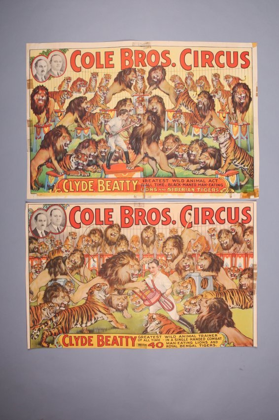 2 Vintage Cole Bros & Clyde Beatty Circus Posters
