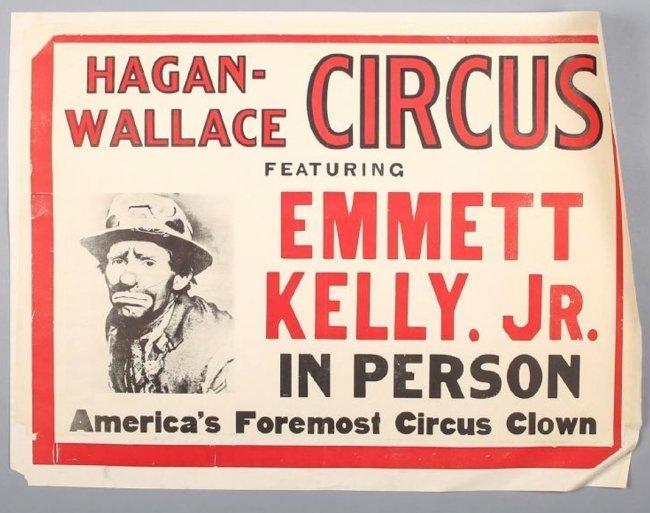 Vintage Hagan-Wallace, Emmett Kelly Jr, Circus Poster
