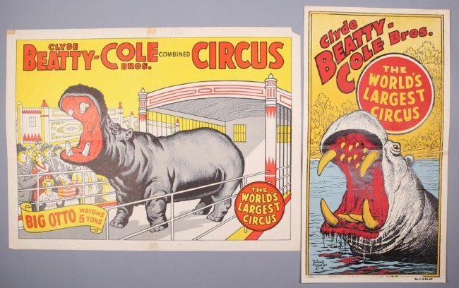 Vintage Clyde Beatty-Cole Bros Circus Lot of 2 Posters