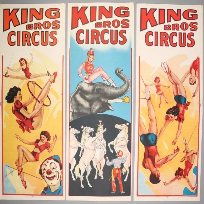 3 Vintage King Bros Circus Banners