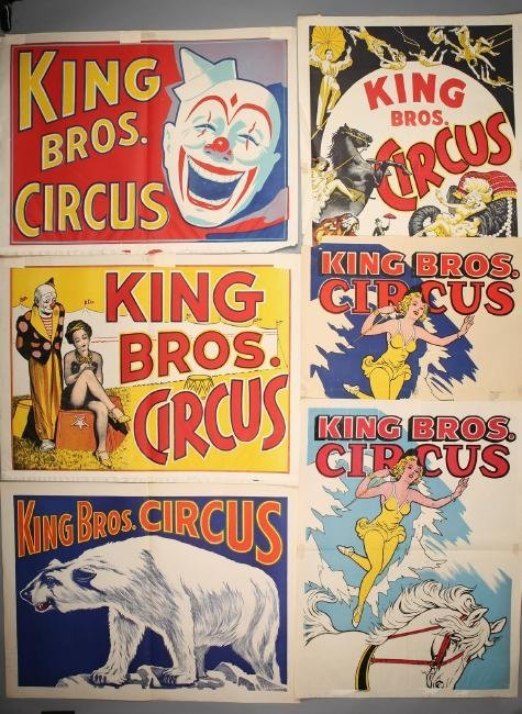 Vintage King Bros Circus 6pc Poster Lot