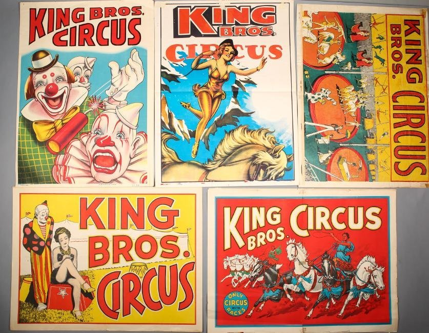 Vintage King Bros Circus 5 pc Poster Lo5
