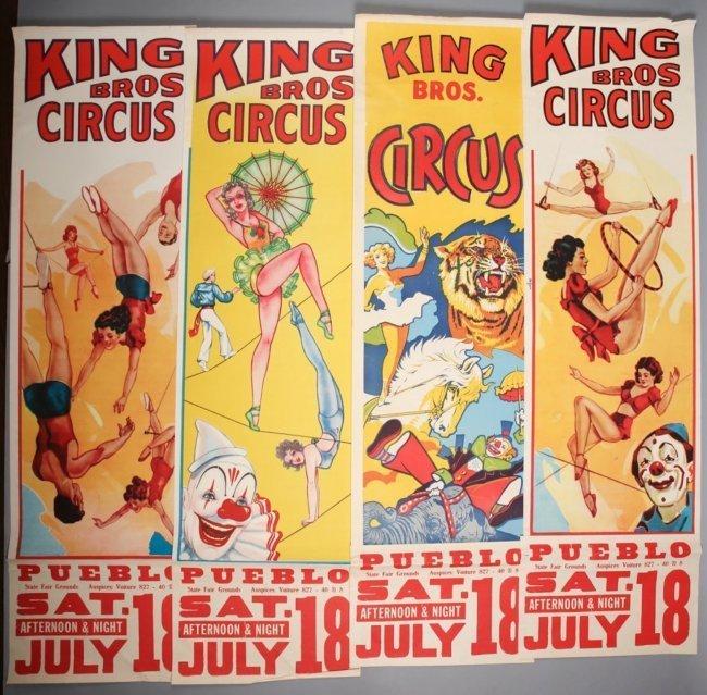 4 King Bros. Vintage Circus Posters