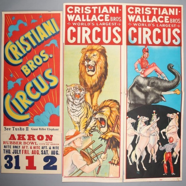 3 Christiani Wallace Vintage Circus Banners