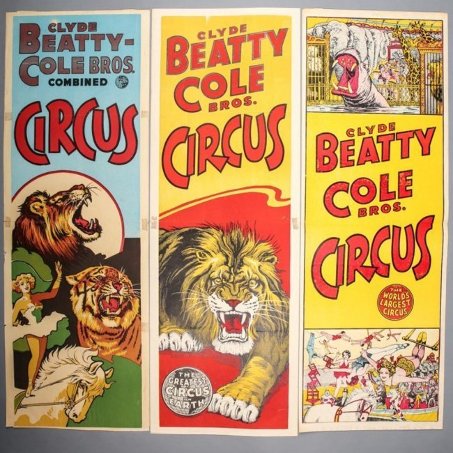 3 Vintage Clyde Beatty & Cole Bros. Circus Posters