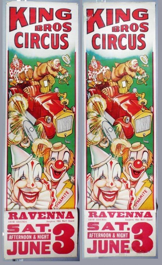 2 Vintage King Bros. Circus Posters