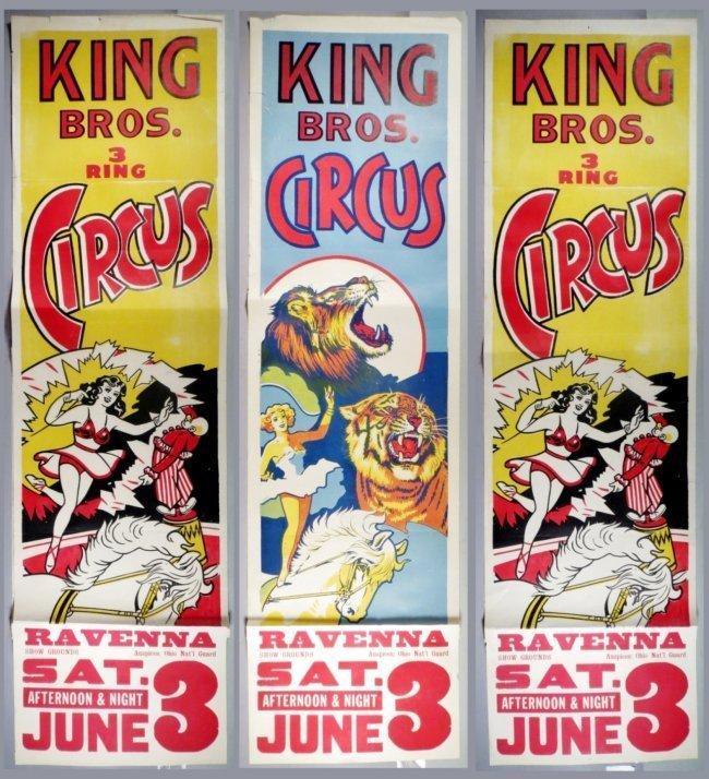 3 Vintage King Bros. Circus Banner Ads