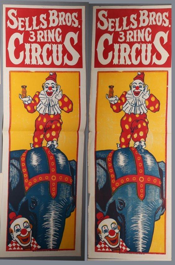 2 Vintage Sells Bros. Circus Banners