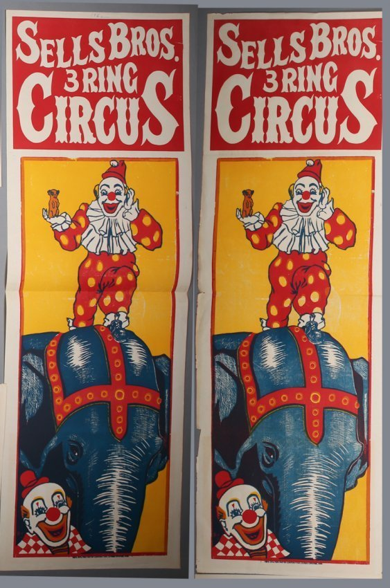 2 Vintage Sells Bros. Circus Banners