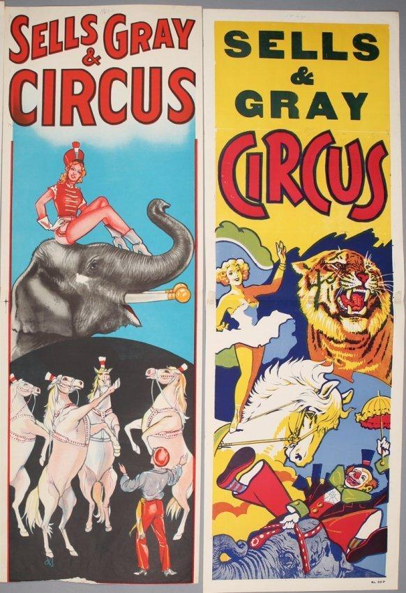 2 Vintage Sells & Gray Circus Banners