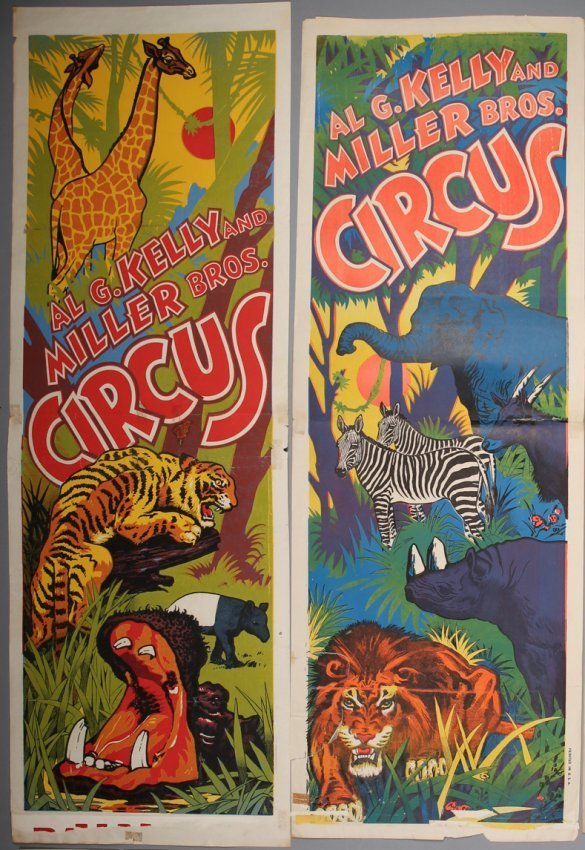 2 Vintage Kelly & Miller Circus Posters