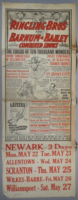 1922 Ringling Bros and Barnum & Bailey Broadside