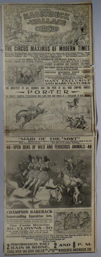 Vintage 1922 Hagenbeck Wallace Circus Broadside - 2