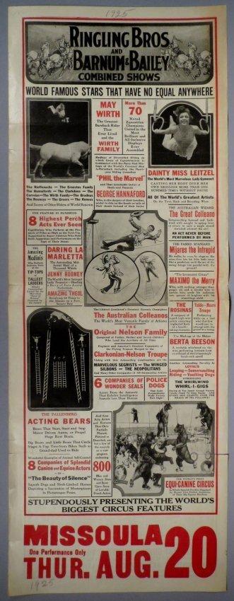 Vintage 1925 Ringling Bros Barnum Bailey Broadside
