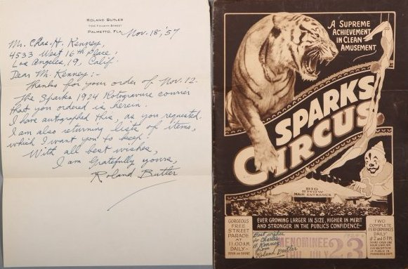 Signed Roland Butler Sparks 1924 Circus Program , Plus
