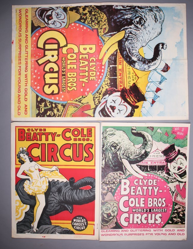 3 Clyde Beatty Cole Bros Circus Posters