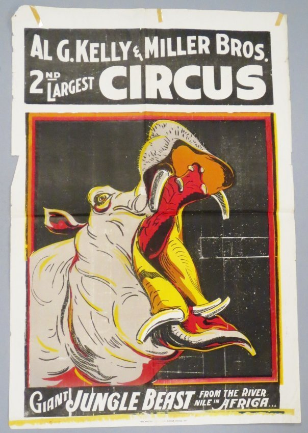 Vintage Al G. Kelly & Miller Bros Circus Poster