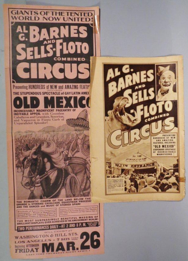 2 Al G. Barnes & Sells-Floto Broadside & Program