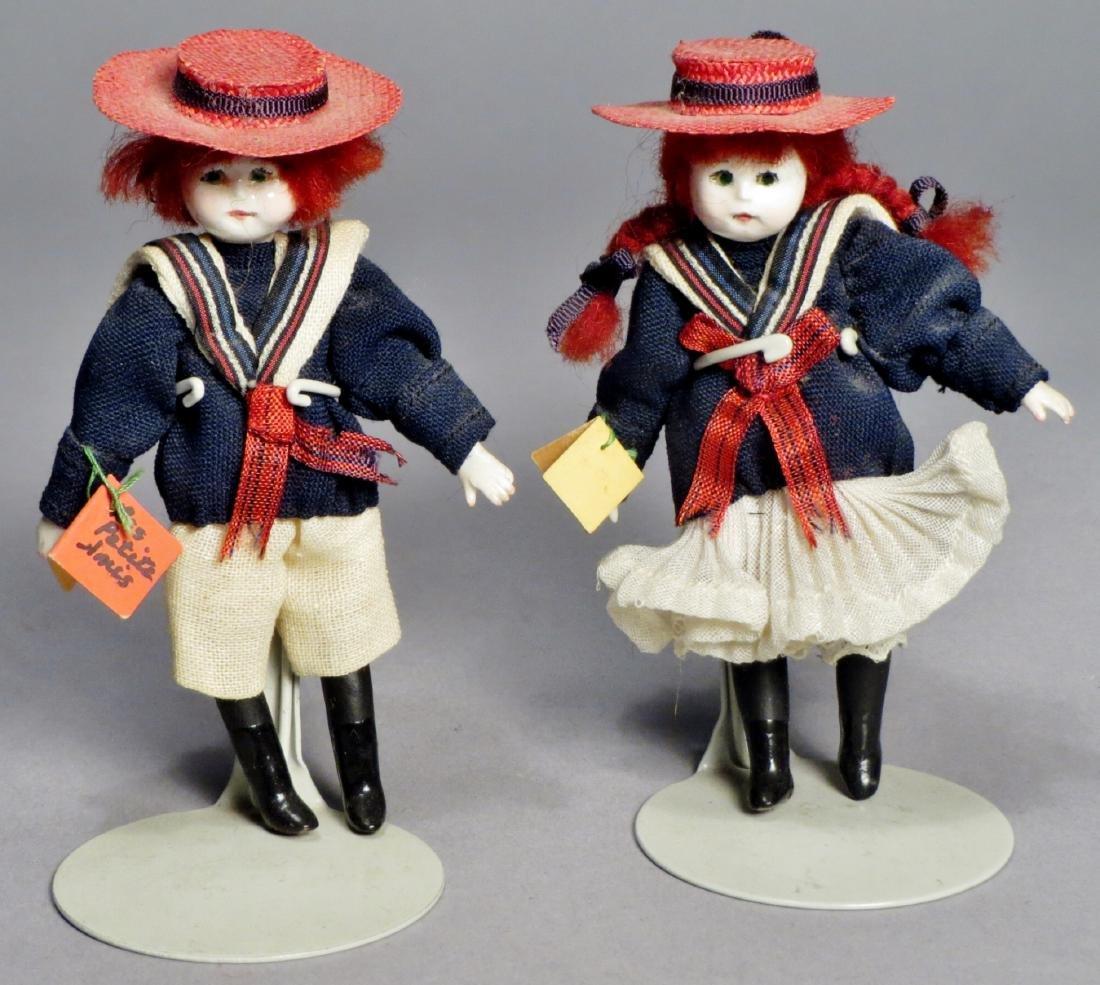 Vintage Pair Les Petite Amis, Dollhouse Dolls