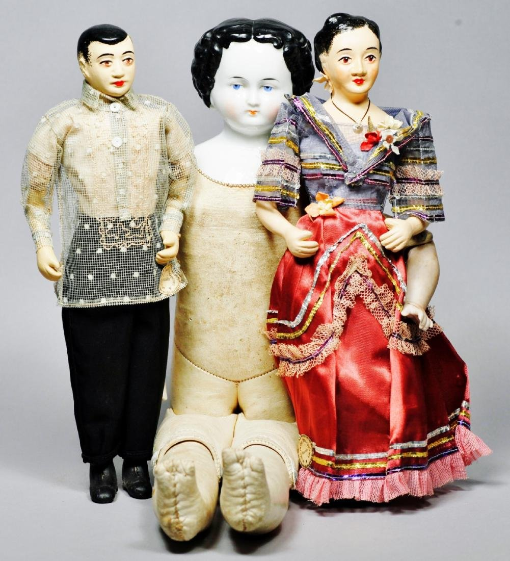 Antique China Head Doll, pair of Phillipines Couple