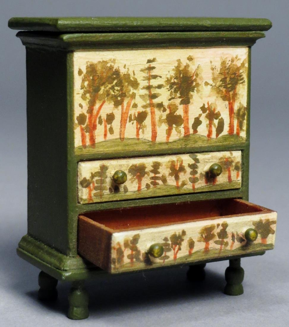 Vintage Oldham Painted Blanket Chest, Dollhouse - 2