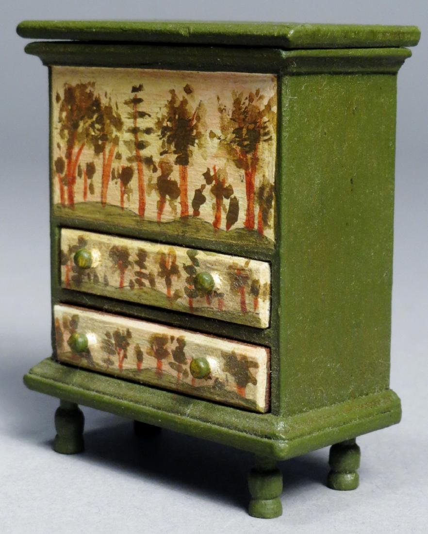 Vintage Oldham Painted Blanket Chest, Dollhouse - 3